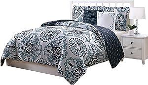 Boho Living Bailey 5-Piece Reversible Comforter Set, Full/Queen, Blue