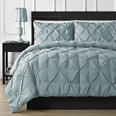 Double Needle Durable Stitching Comfy Bedding 3-piece Pinch Pleat Comforter Set All Season Pintuck Style (Queen, Spa Blue)