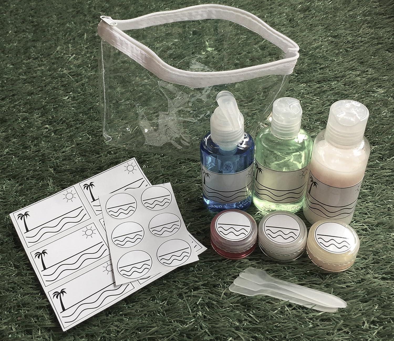 Kit de viaje líquidos 9 piezas) + etiquetas/Pegatinas para identificar resistente al agua | equipaje de mano & Avión | botellas de cosmética para | botellas ...
