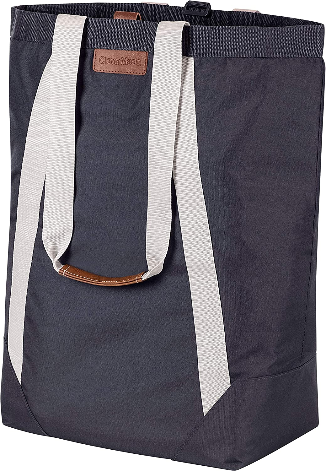 CleverMade Backpack Laundry Bag Tote with Comfortable Shoulder Straps - Extra Large Capacity Polyester Clothes Hamper with Premium Handles and an Inner Zipper Storage Pocket for Valuables, Charcoal