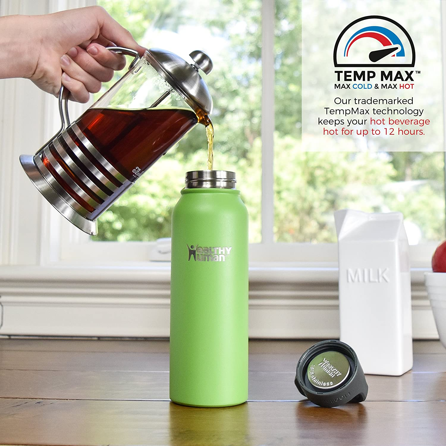 16 oz Double Walled Water Bottle 32 oz 40 oz Healthy Human Classic Collection Stainless Steel Vacuum Insulated Water Bottle 21 oz Hot 12 Hours Keeps Cold 24 Hours