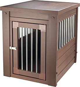Contemporary End Table Pet Crate and Kennel with Stainless Steel Spindles - Includes Modhaus Living Pen