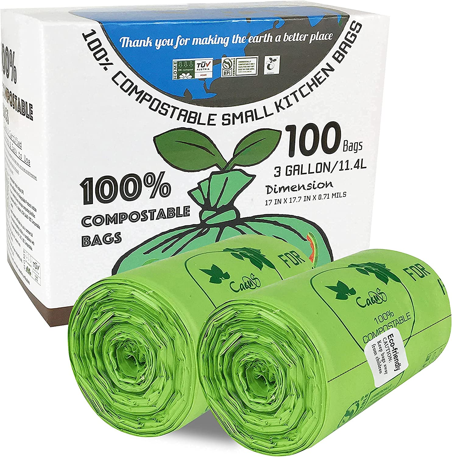 CACUS 100% Compostable Trash Bags, 3 Gallon/11.4 Liter, 100 Count, Extra Thick 0.71 Mils, Biodegradable Trash Bags, Food Waste Bags, US BPI and Europe OK Compost Home Certified