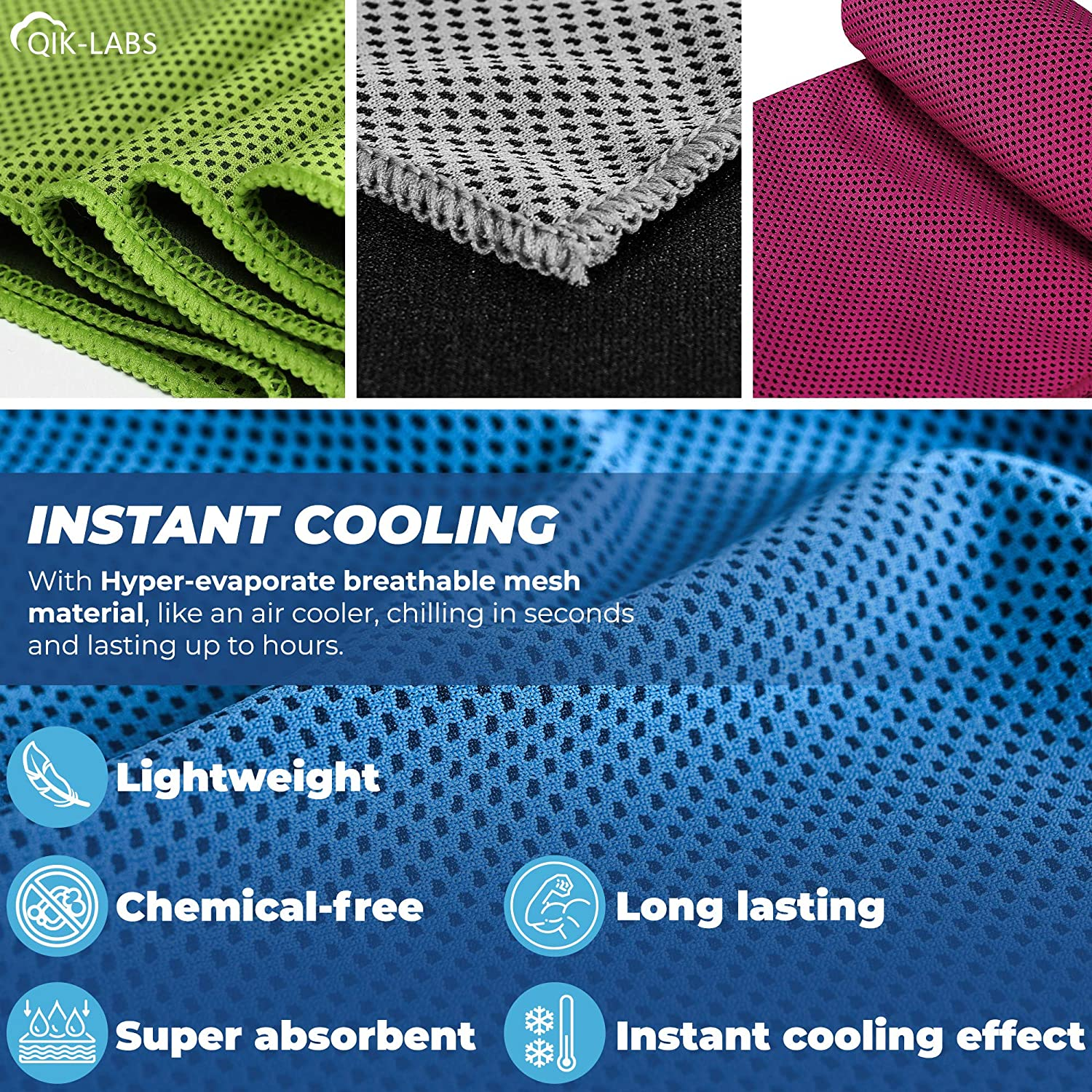 Cooling Towels for Neck 4 Pack Ice Towel Chilly Cool Towel for Athletes 4pc Cooling Towel Neck Cooler Cold Towel for Hot Weather/… Instant Chill Cooling Cloth as Cool Rags for Neck Cooling Wrap