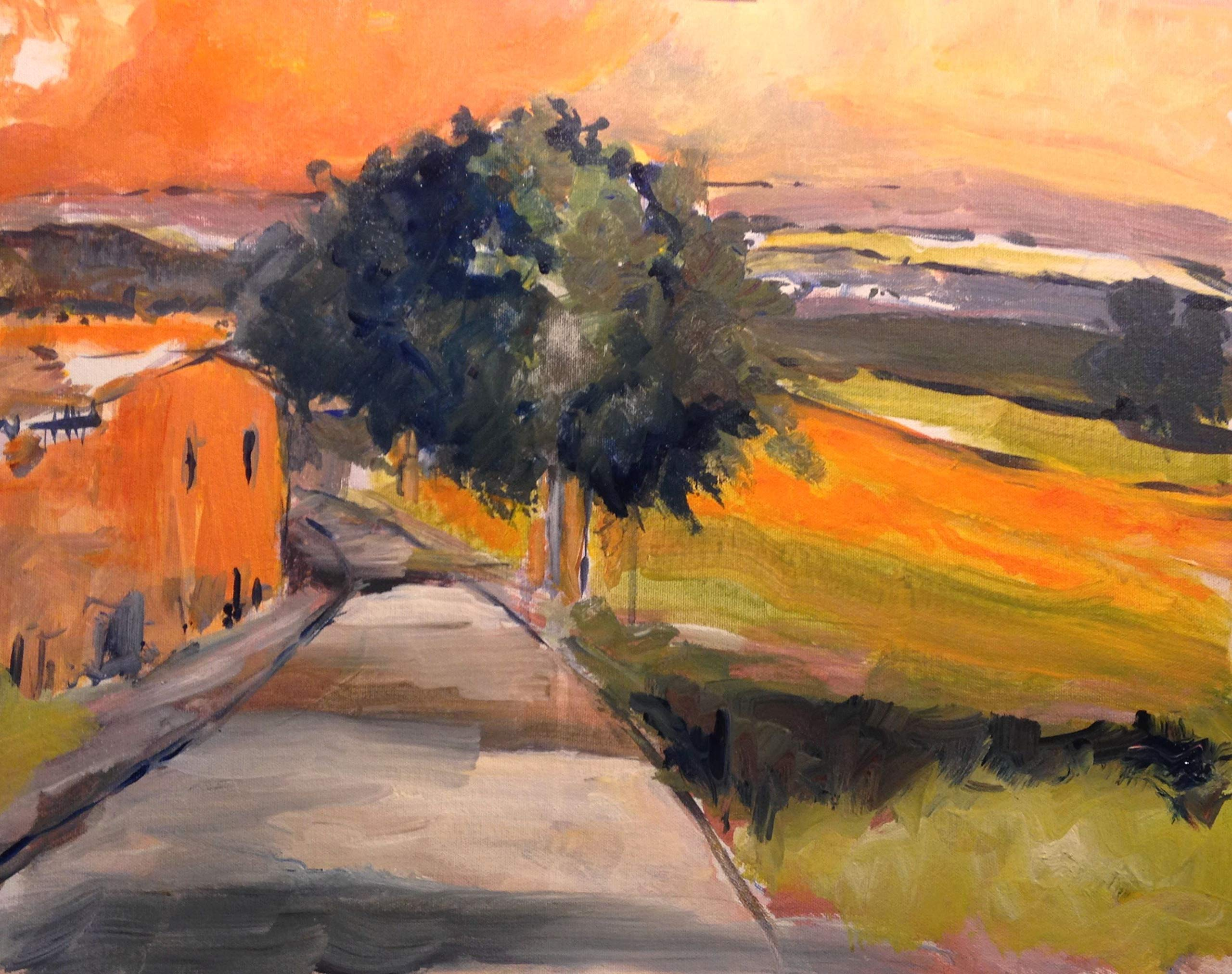 Tuscany Road Early Evening by