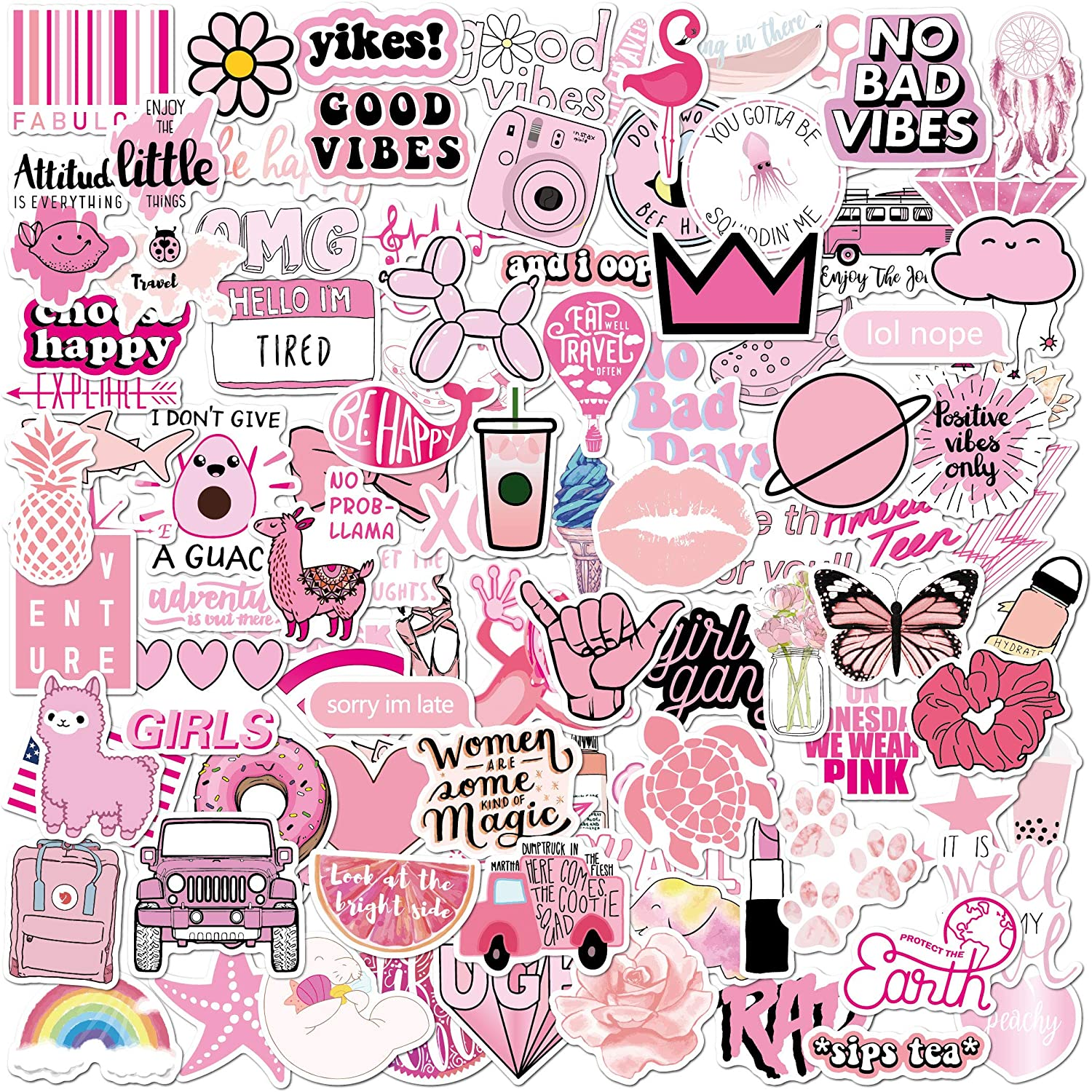 Pink Vsco Stickers 100 Pack I Cute Pink Stickers Waterproof 100% Vinyl Stickers I Vsco Girls Stuff, Aesthetic Stickers, Vsco Stickers for Water Bottle, Laptop Stickers (100 Pack, Pink VSCO Stickers)