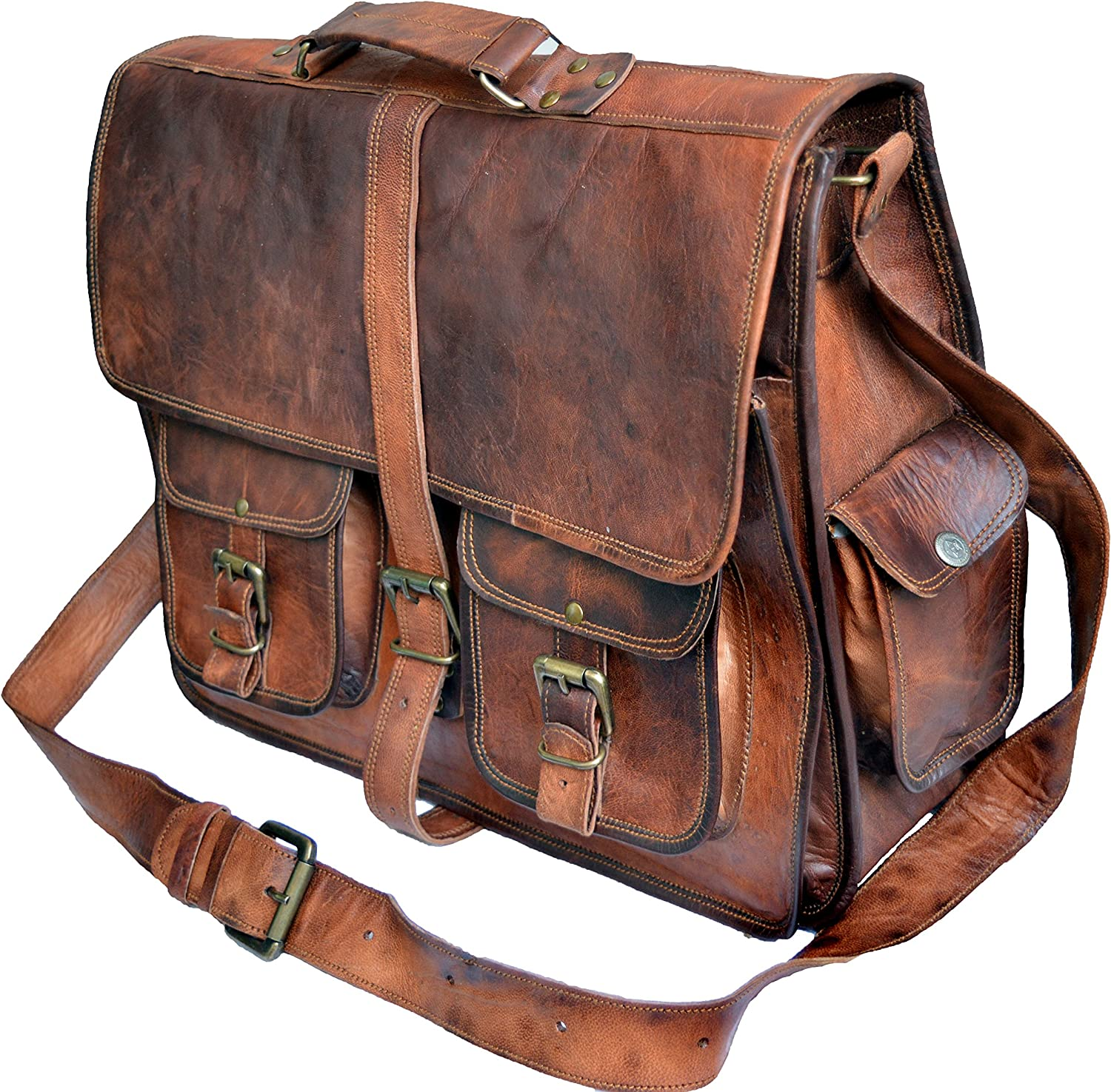 40 Cm Bolso Bandolera Laptop Bag Bolsa De Hombro Cuerpo Cruzado Grande para Mensajero Mensajeria De Cuero Piel Marron Portatil Notebook Bag College Office Hombre Y Mujer Leather Messenger Bag
