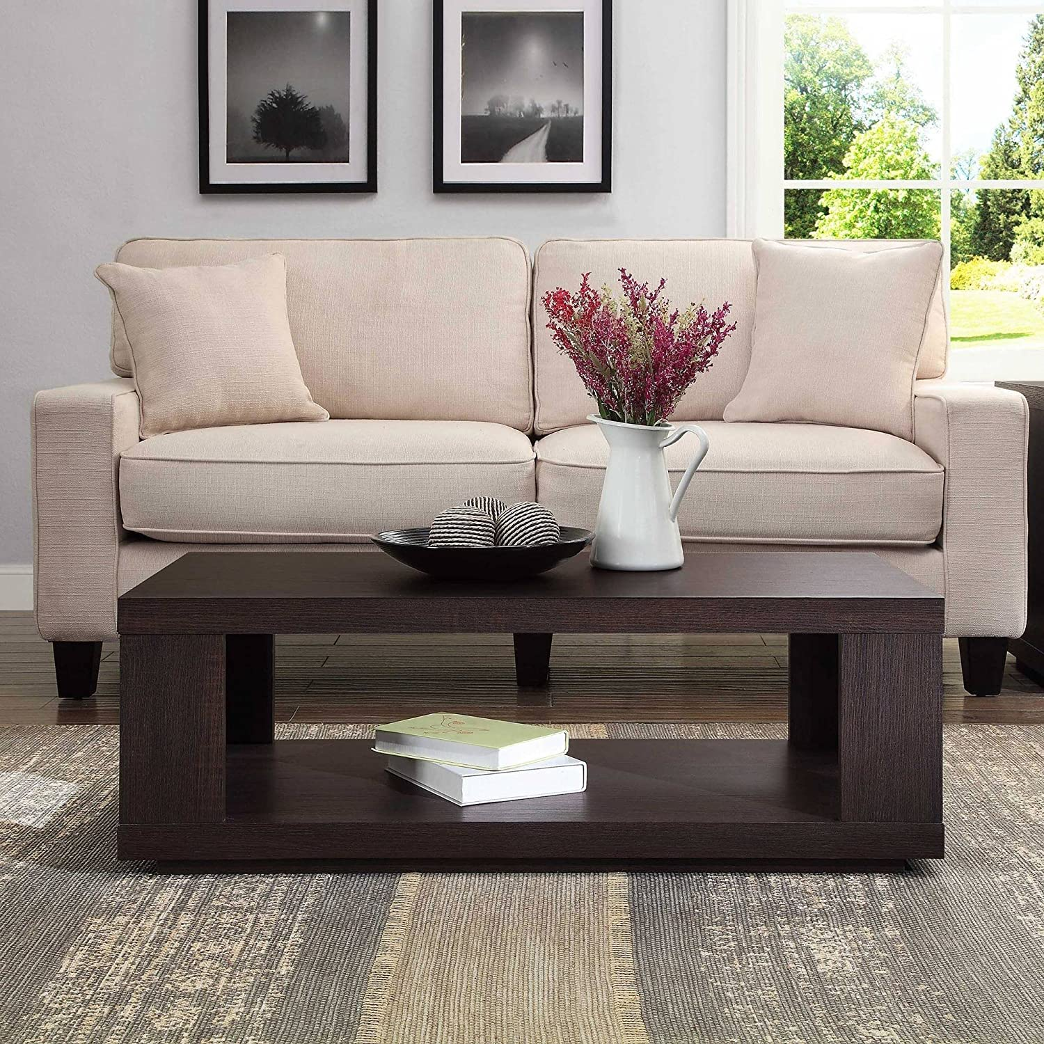Contemporary Design Steele Rectangle Coffee Table for Living Room Made of Wood in Espresso Finish 40 W x 20 D x 14 H in.