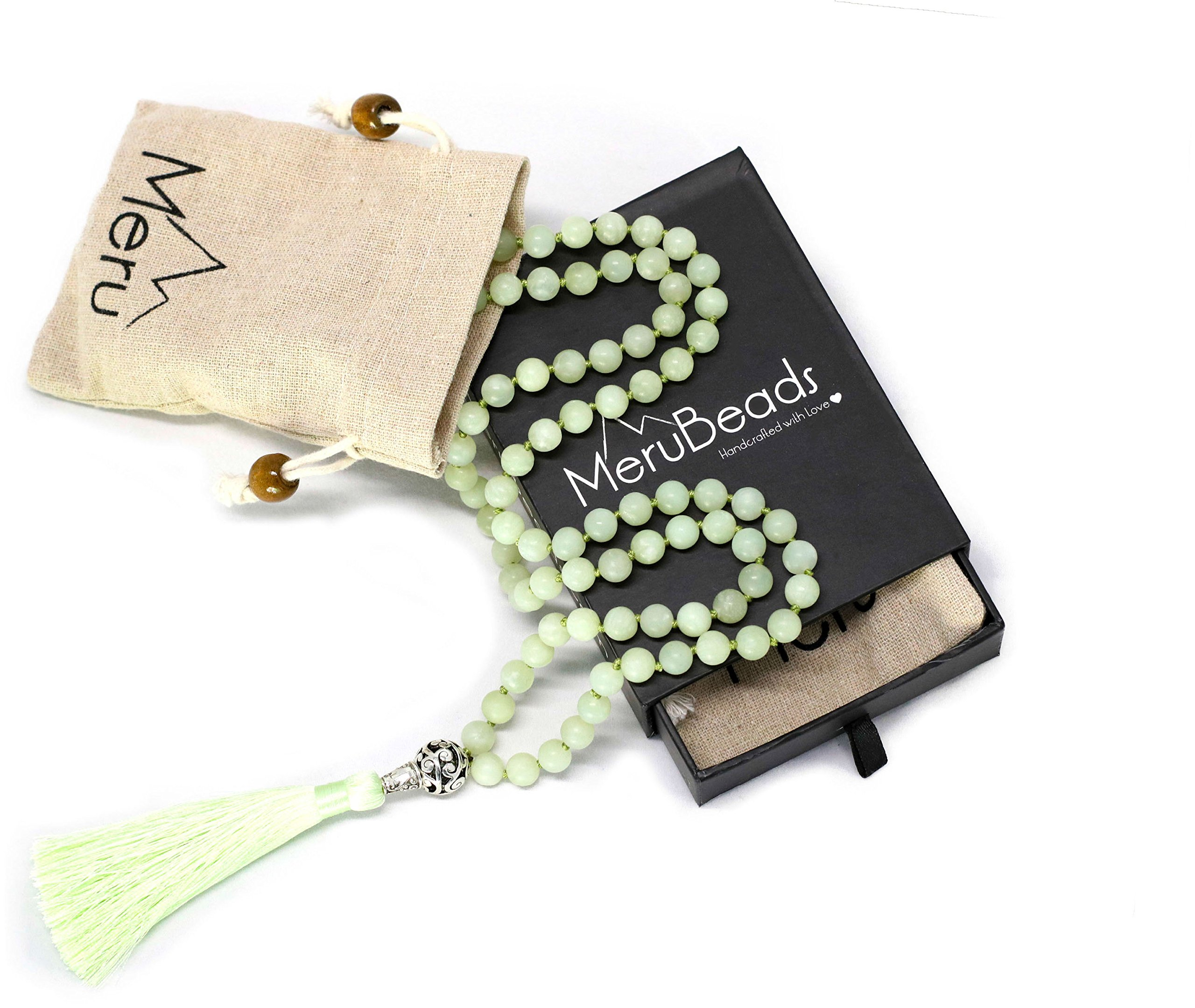 Premium Frosted Green Jade Mala Beads Necklace - 108 Mala Beads 8mm - Japa Mala Beads - Mala Beads for Women - Tibetan Mala Beads - Buddhist Mala Beads - Green Necklace - Mala Beads for Men