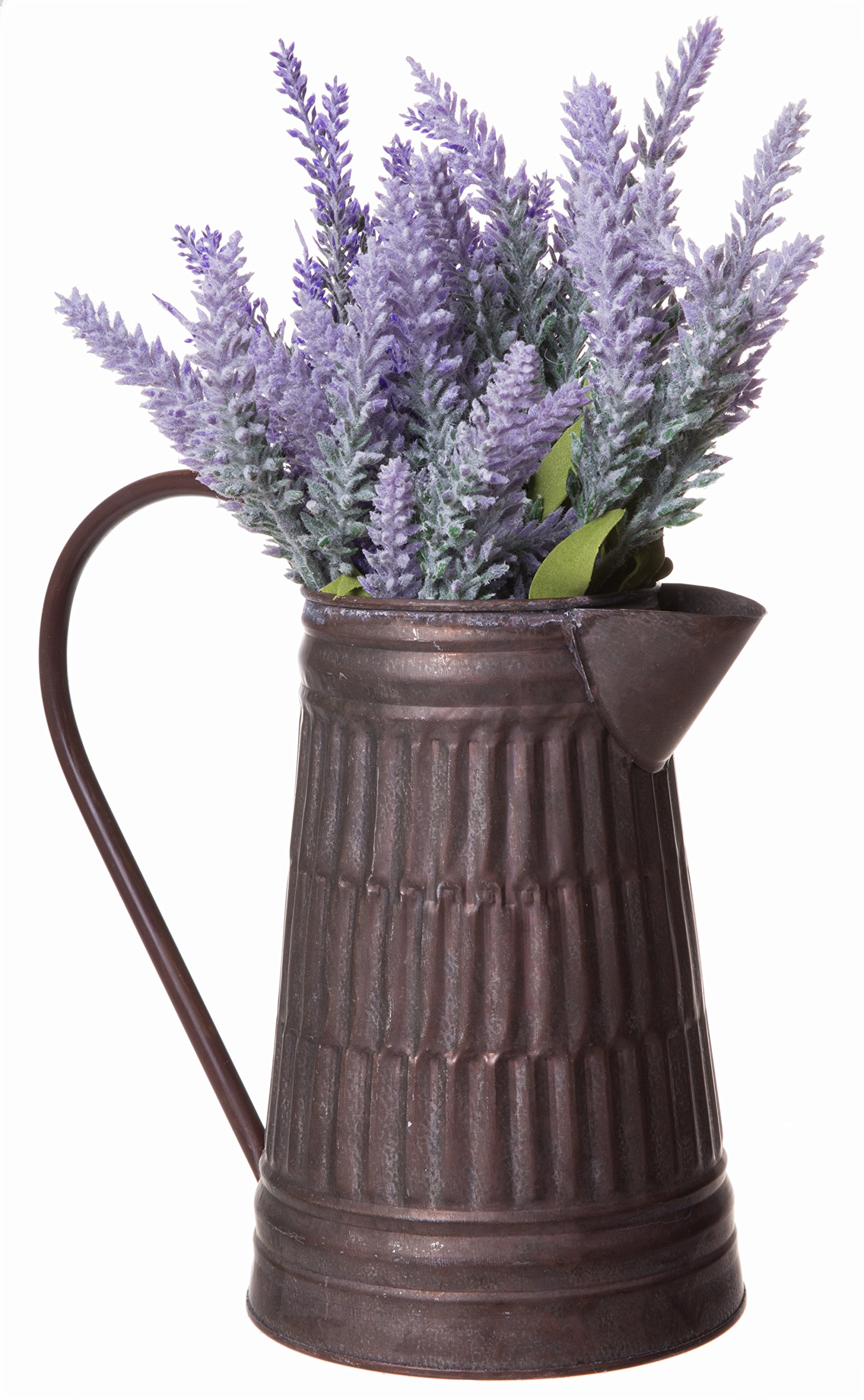 Farmhouse Brown Rustic Style Galvanized Milk Can Pitcher Vase with Handle - 7.5 Inch Tall