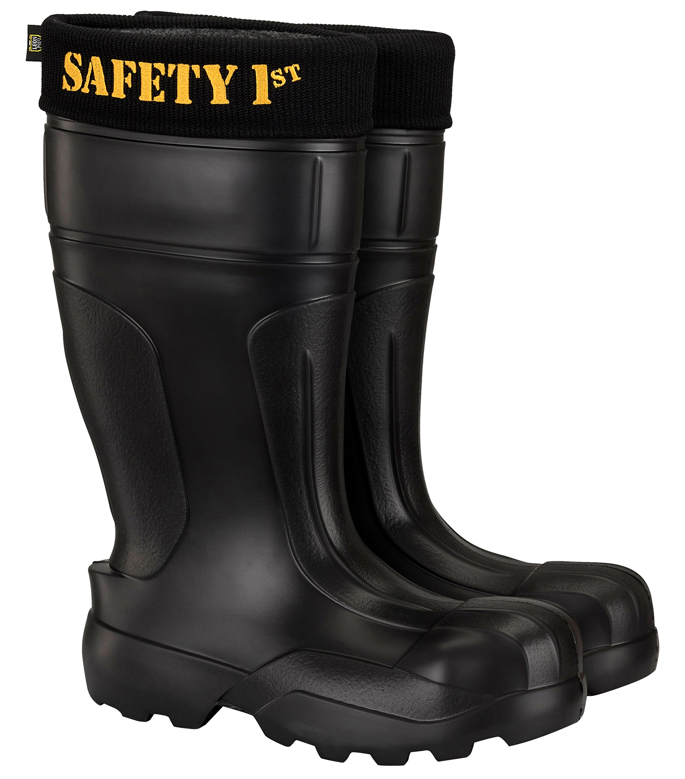 Leon Boots Co. Ultralight Men's Safety 1st EVA Non-Slip Boots, Size US 10-10-1/2, EU 44, Black