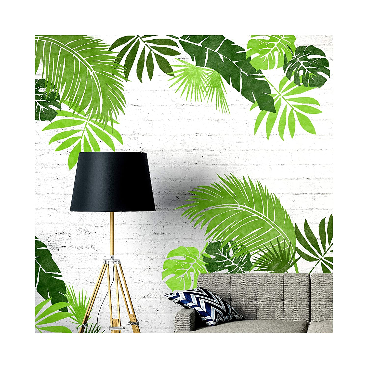 Jungle Leaf Set of 6 Furniture Wall Floor Stencils for Painting - Furniture Large Dizzy Duck Designs
