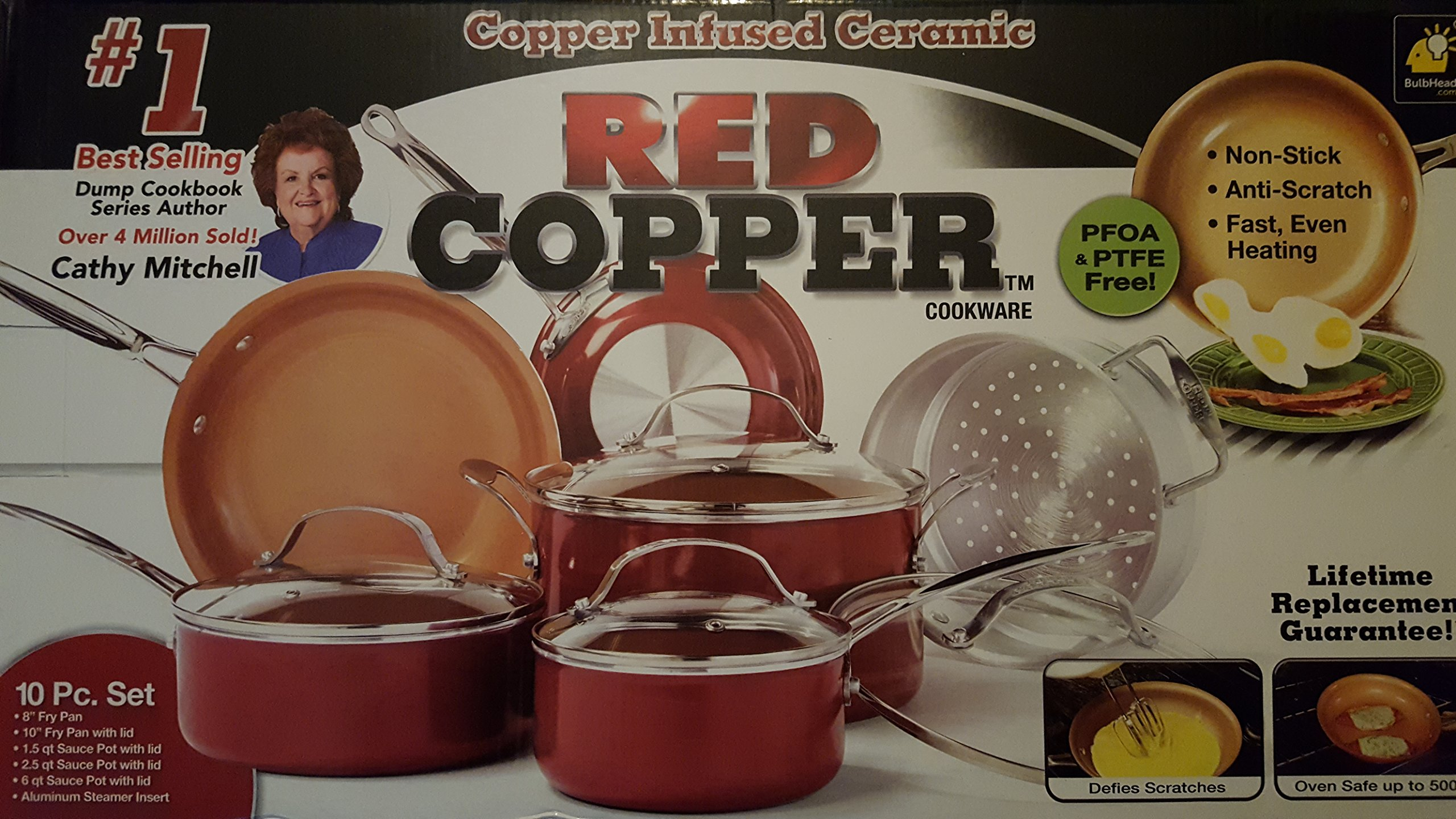 10 Pc Cookware Set Red Copper Ceramic Non Stick Cooking