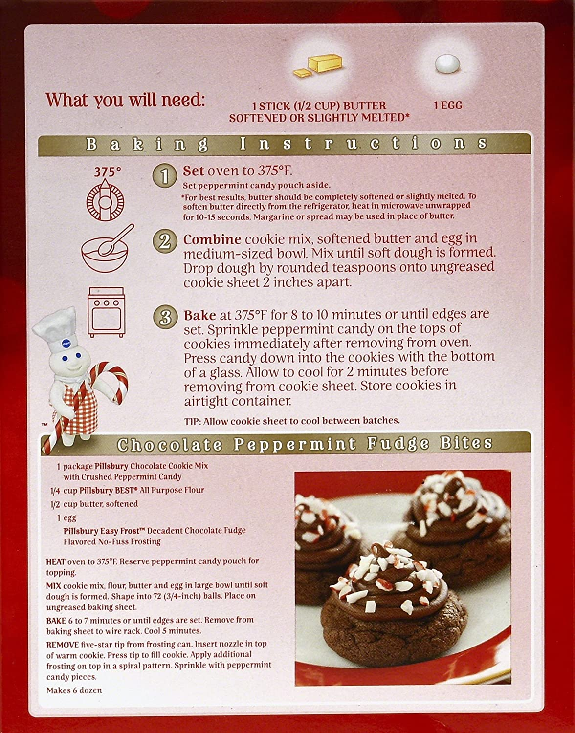 Pillsbury Chocolate Cookie Mix With Crushed Peppermint Candy 17 5 Ounce Pack Of 12