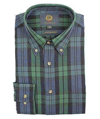 1759599068 Viyella Black Watch Tartan 80 20 Cotton Wool Blend Button Down Collar Shirt  in Size