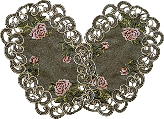 "set of 2 Rectangular Antique Pink Rose on Gray Place Mats 11/"" x 17/"""