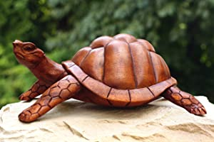 "G6 Collection 12"" Large Wooden Tortoise Turtle Statue Hand Carved Sculpture Wood Decorative Home Decor Accent Figurine Handcrafted Handmade Rustic Seaside Tropical Nautical Ocean Coastal Decoration"