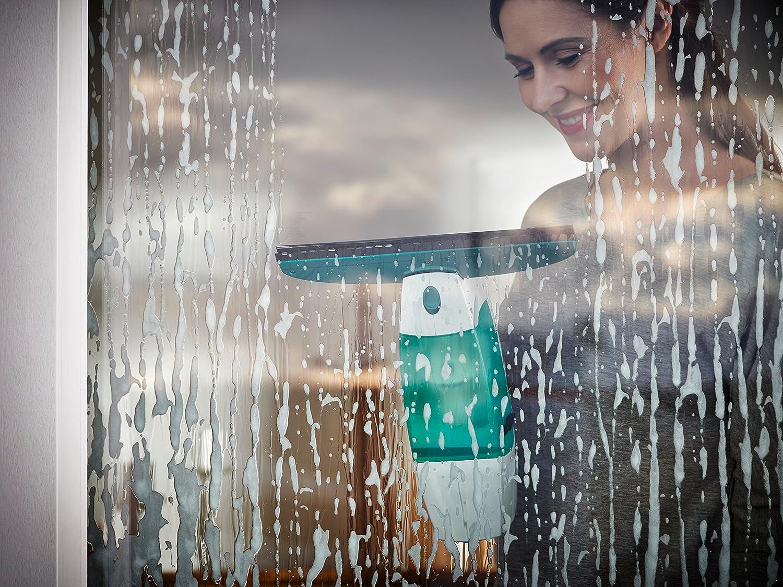 23x10x47.5 cm Blanco y Azul Compuesto Leifheit Dry/&Clean Aspirador Limpiacristales Palo
