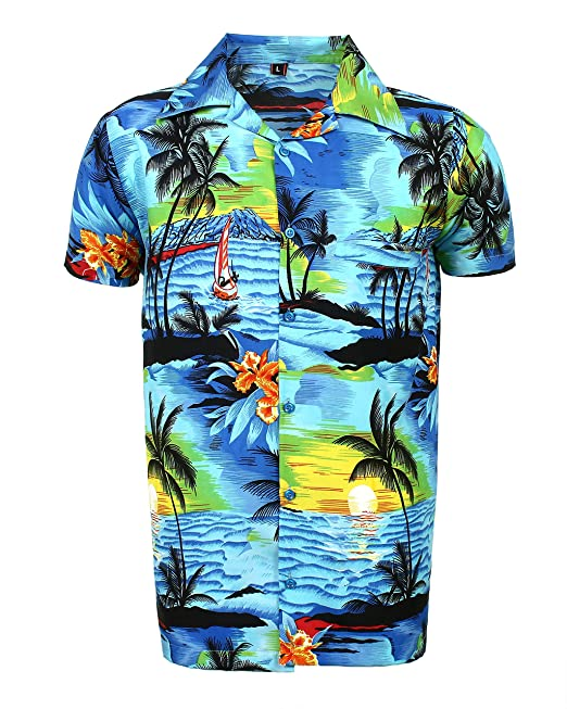 dac4c7d0f SAITARK Mens Hawaiian Shirt Stag Beach Hawaii Aloha Party Summer Holiday  Fancy BP: Amazon.co.uk: Clothing