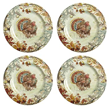 Nantucket Home Fall Thanksgiving Turkey Heavyweight Melamine Dinner Plates 11-Inch Set of  sc 1 st  Amazon.com & Amazon.com | Nantucket Home Fall Thanksgiving Turkey Heavyweight ...