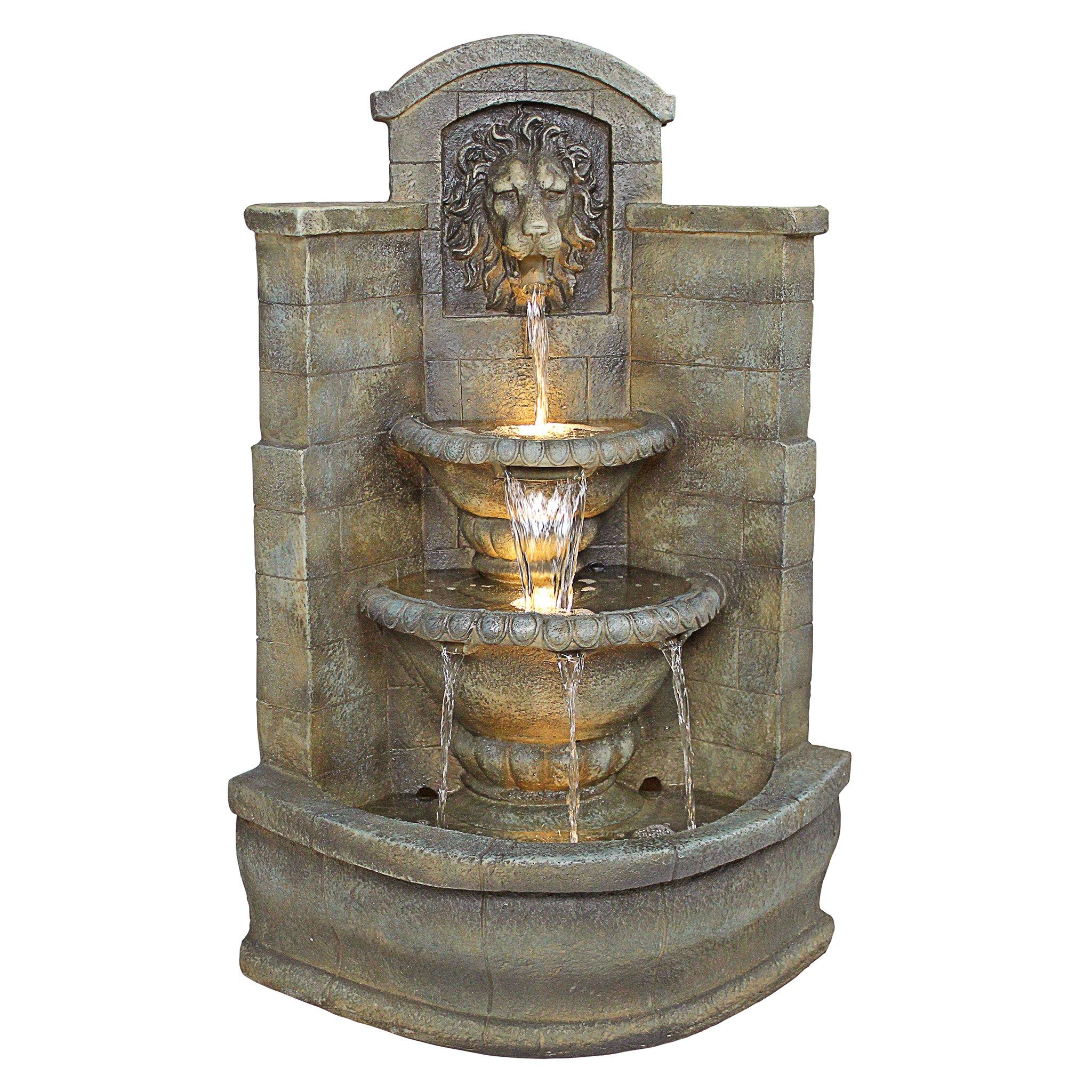 Design Toscano Saint Remy Lion Corner Fountain by Design Toscano
