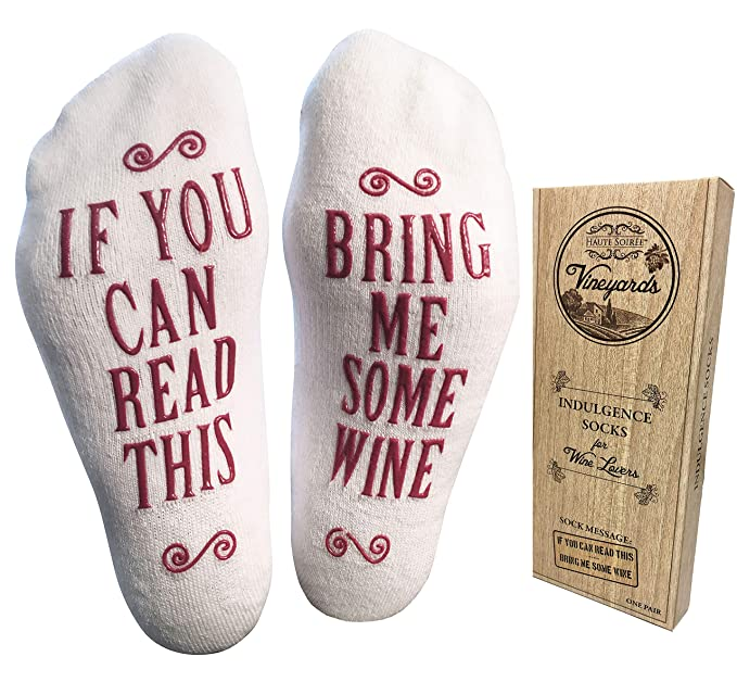 bring me some wine luxury combed cotton socks with gift box perfect