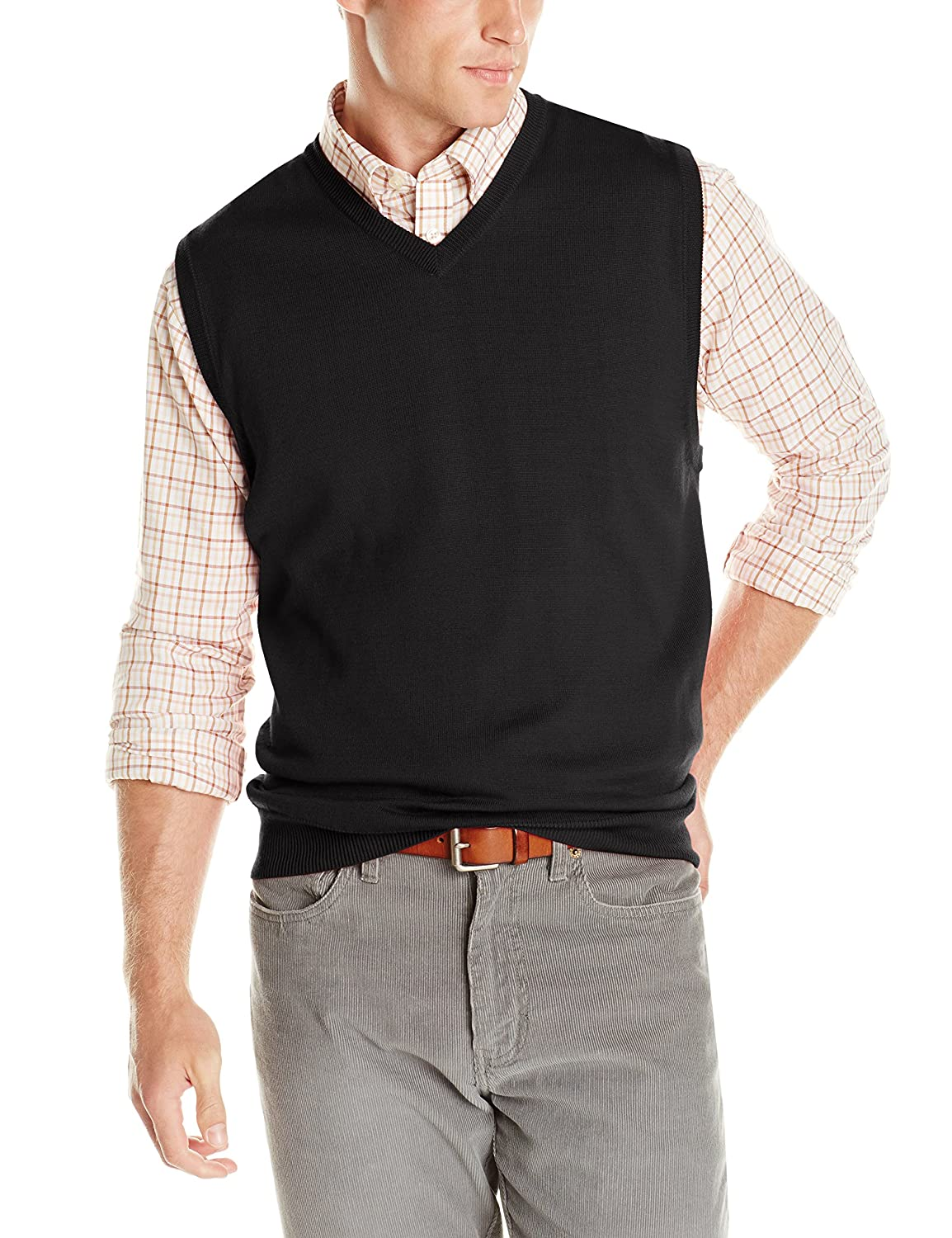 IZOD Men's Fine Gauge Solid Sweater Vest, Golden Cream, Small at ...