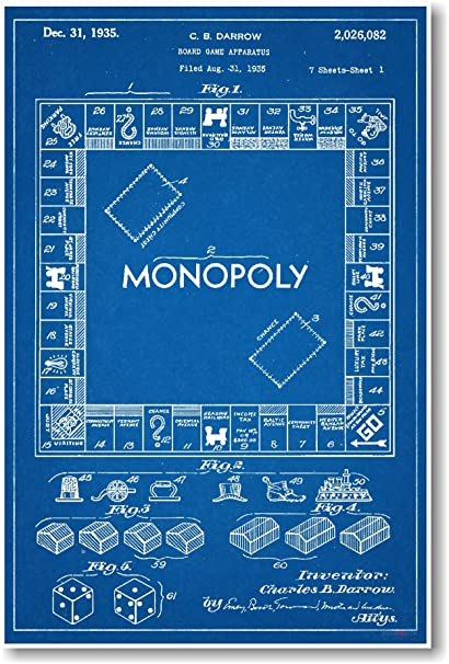 Amazon monopoly board game patent new famous invention patent monopoly board game patent new famous invention patent blueprint poster malvernweather Gallery