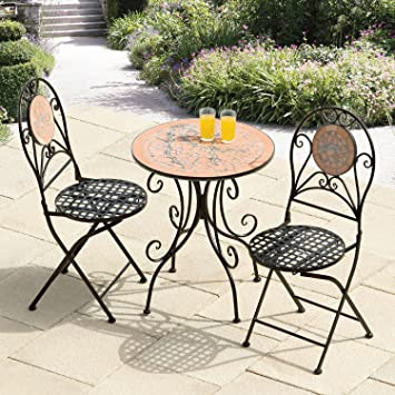 Suntime Broken Mosaic Tiles Cast Iron Bistro Set   Black Metal Garden  Furniture Set   2. Suntime Broken Mosaic Tiles Cast Iron Bistro Set   Black Metal