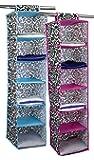 Home Basics 6-Shelf Hanging Closet Organizer - Damask Design (Blue)