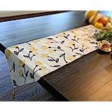 "DaDa Bedding Elegant Tapestry Table Runner - Fresh Sunshine Yellow Fleur Floral Design - Cotton Linen Woven Dining Mats - 13"""