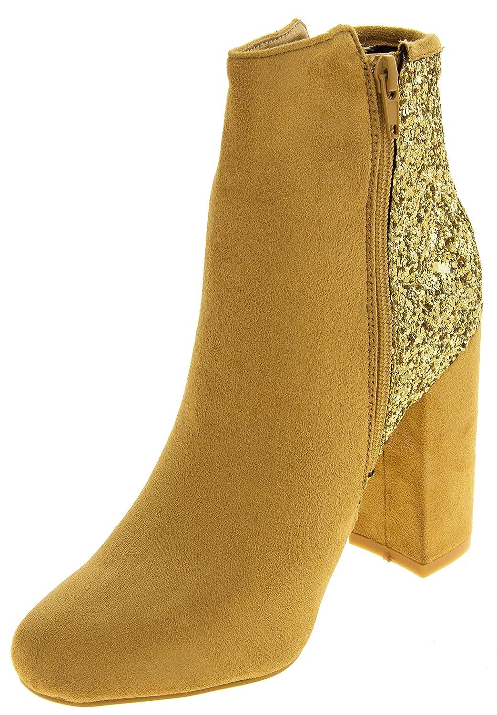 Ladies Divine Faux Suede Glitter Ankle Stiefel