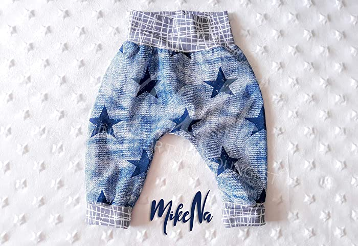 c5b8c77ee Baby Boho Striped Stars Harem Pants Boy Girl Birthday Gift Coming Home  Outfit Jeans Grow With Me Trousers Cotton Jersey Stripes Soft Blue  Sweatpants: ...