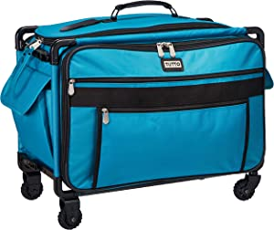 Tutto 9224TMA Turquoise Sewing Machine on Wheels Case, 25 by 18.5 by 13