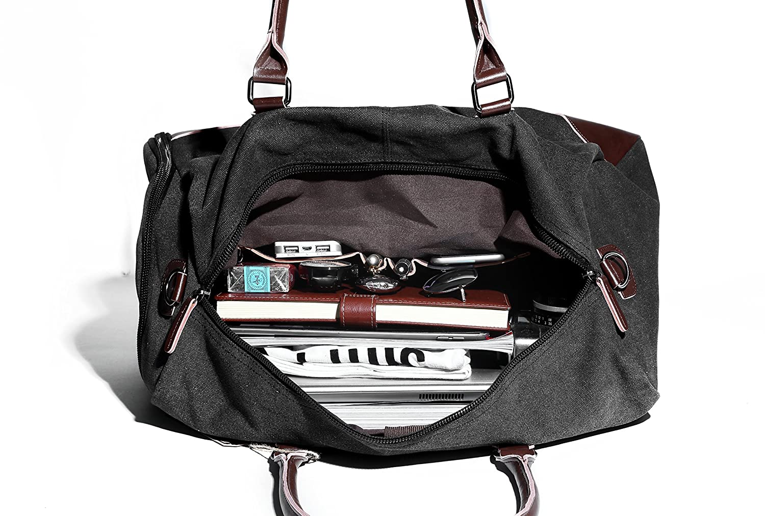 f1f5fa78e011 Amazon.com  Fresion Canvas Duffel Leather Carry On Bag Weekend Overnight  Tote Bag Men Shoe Pouch(Black)  Clothing