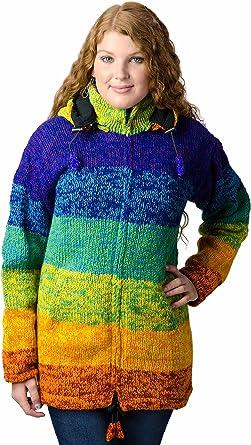 Black TCG Women/'s Winter Coat Hand Knit Wool Outerwear Hoodie