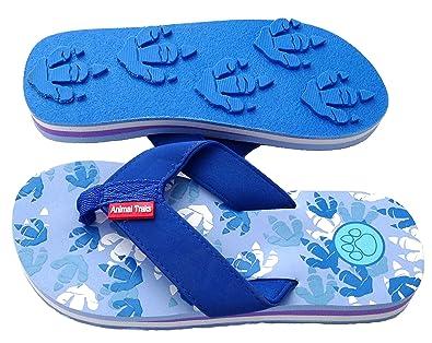 4915512b854f83 Dino Blue Medium Kids Paw Print Flip Flops Fun for Beach