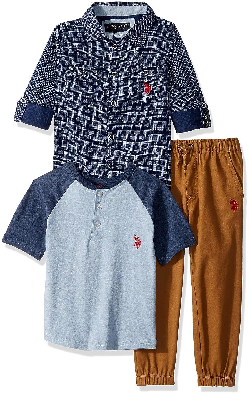 U.S. Polo Assn. Boys' Long Sleeve T Shirt and Pant Set