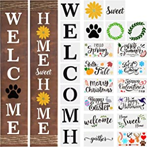 WATINC 24Pcs Seasonal Stencil Kit, Welcome Home Porch Sign for Front Door, Reusable DIY Stencil Word Home Sweet Home Sign Painting Mold on Wood Paper,Seasonal Theme Christmas Winter Holiday Home Décor