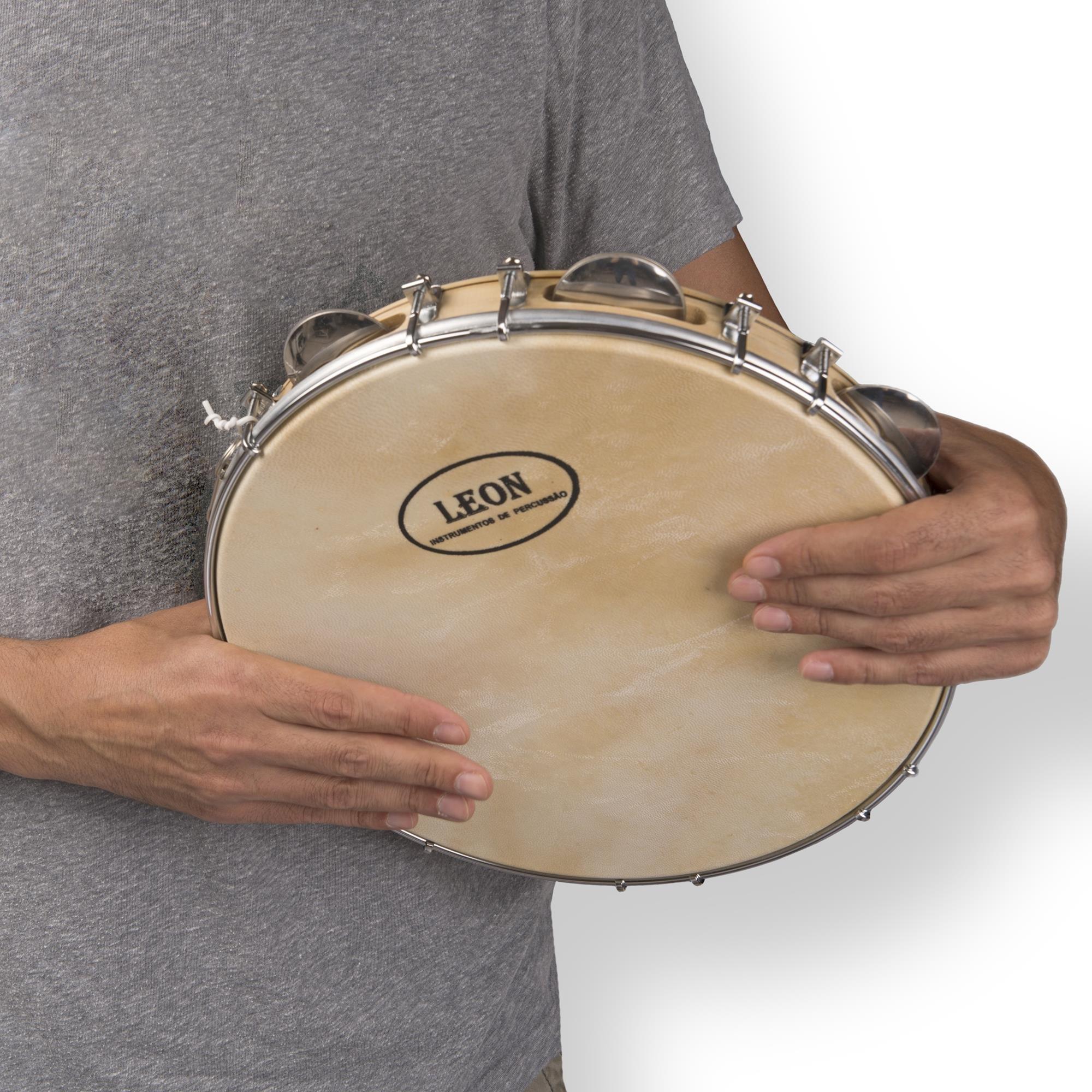 Capoeira Leather Pandeiro Drum Tambourine Samba Brasil Wood Music Instrument 8''
