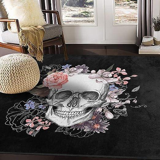 Amazon Com Alaza Day Of The Dead Sugar Skull Area Rug Rugs Carpet For Living Room Bedroom 7 X5 Furniture Decor