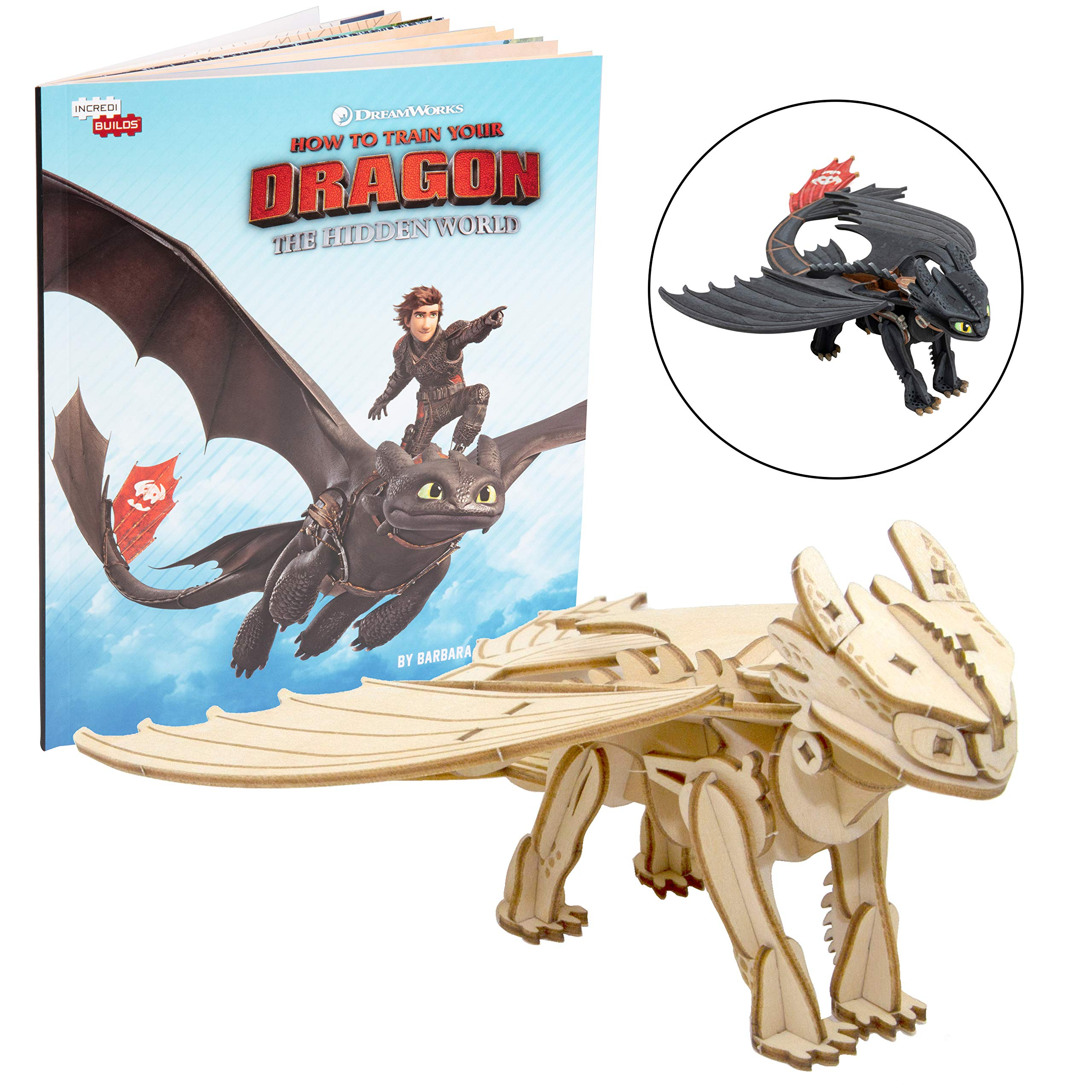 DreamWorks How to Train Your Dragon: Hidden World Toothless Book and 3D Wood Model Figure Kit - Build, Paint and Collect Your Own Wooden Model - Great for Kids and Adults, 8+ - 7''
