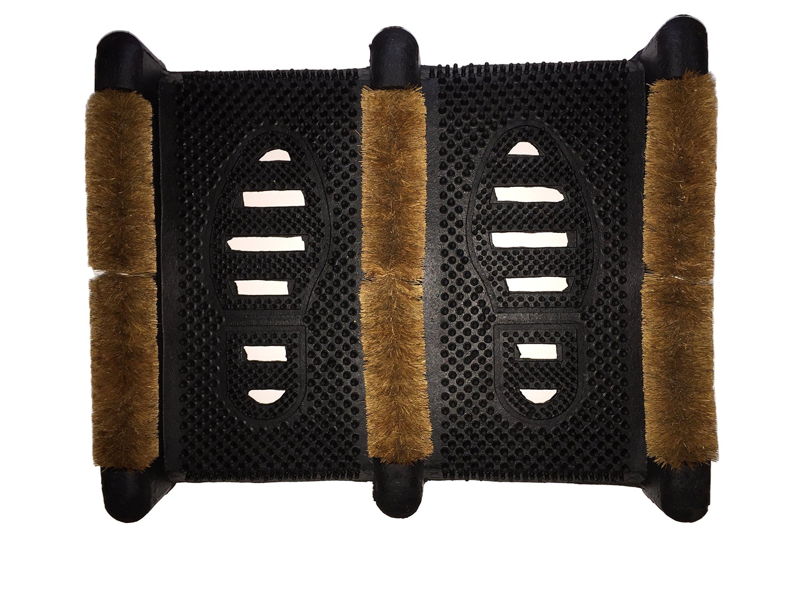 La Deins Rubco Boot Wiper DFG138P Boot Scraper 15.5'' X 12'' X 2.5'' Rubber Boot Scraper with Coir Fiber
