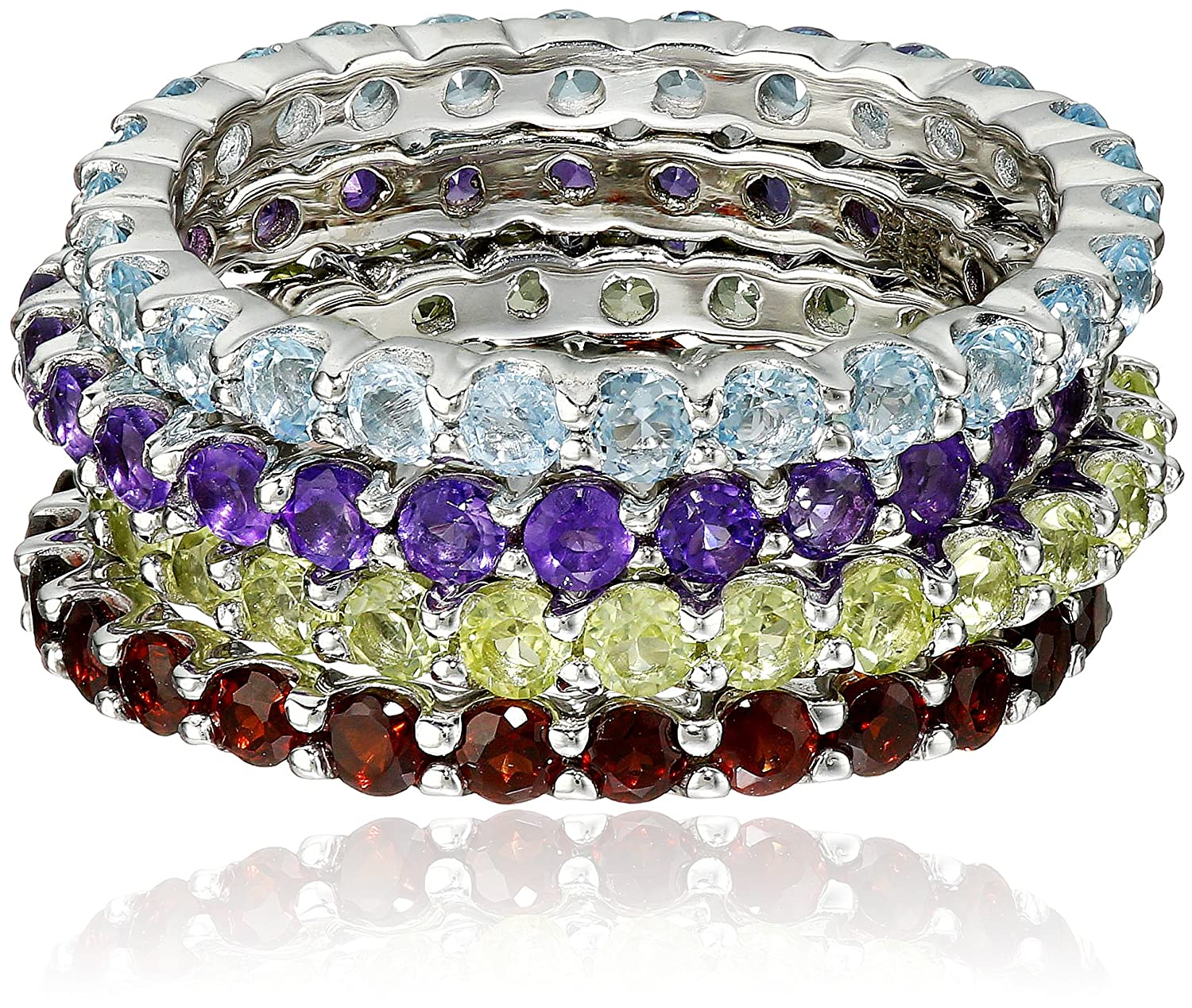 Sterling Silver Gemstone Set of Four Stackable Rings