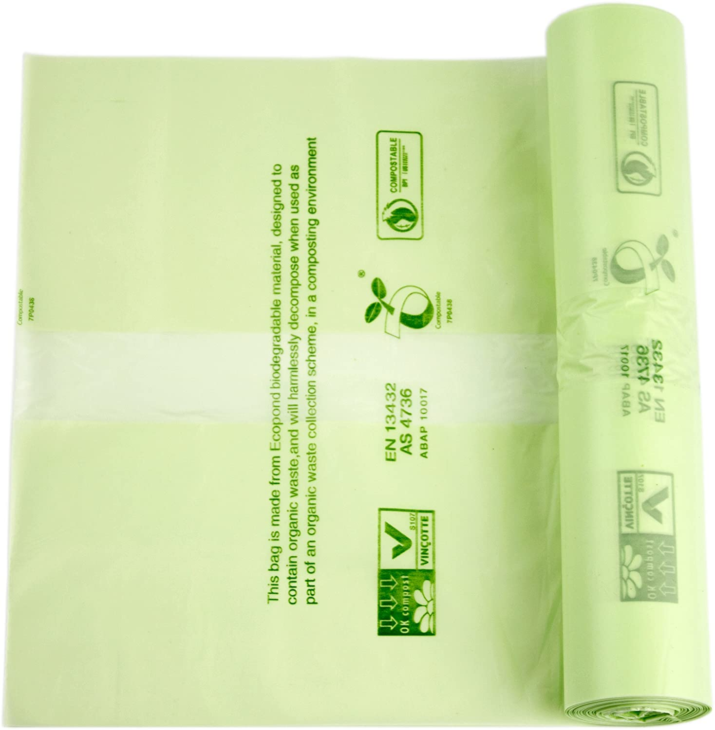50 x Alina 6L Compostable Kitchen Caddy Bin Liner / Food Waste Compost Bin Bag / Biodegradable Green 6 Litre Sack with Alina Composting Guide (50 bags)