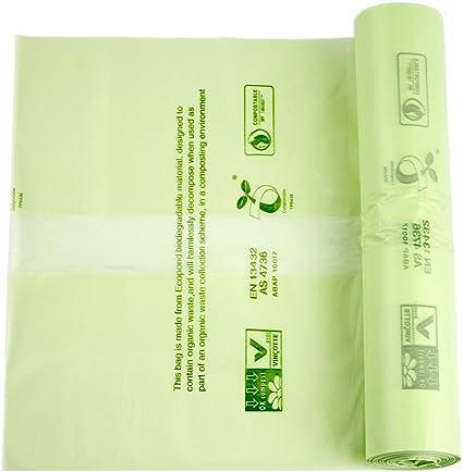Alina -Bolsas de basura compostables para alimentos y residuos biodegradables, 6 litros, con la Guía de compostaje de Alina, 200 bolsas