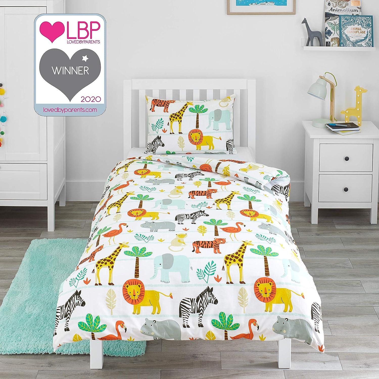 Bloomsbury Mill - Juego de cama para niño - Funda nórdica y funda de almohada 120cm x 150cm -Aventura en el safari - Animales de la selva