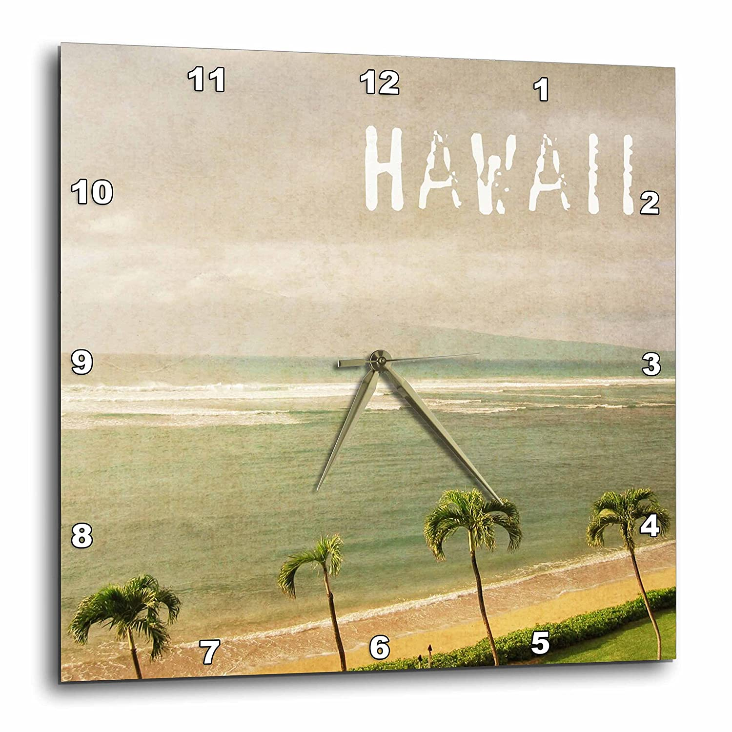3dRose dpp_30916_3 Vintage Maui Palm Trees and Beach Hawaii Tropical Photography Wall Clock, 15 by 15-Inch