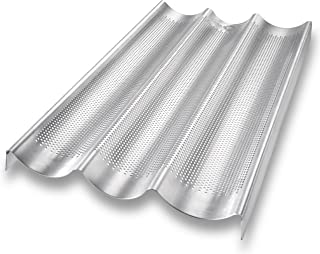product image for USA Pan Bakeware Aluminized Steel Perforated French Baguette Bread Pan, 3-Loaf