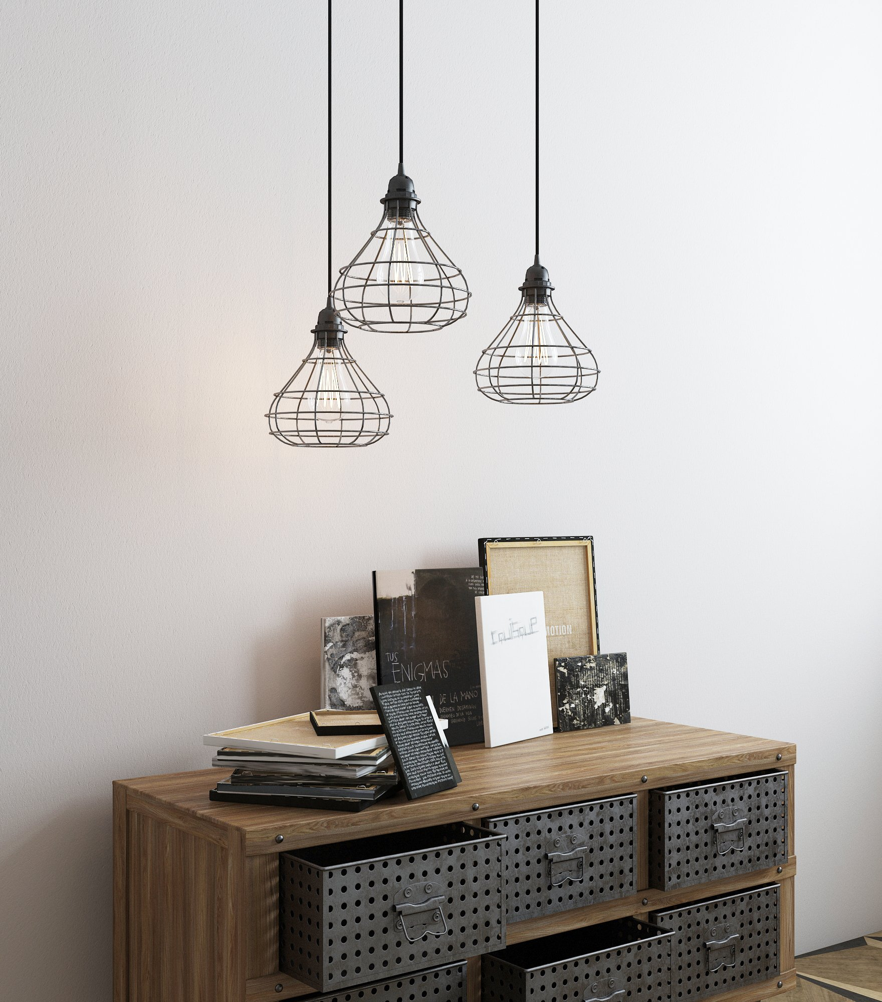 Industrial Cage Pendant Light with 15' Black Fabric Plug-in Cord and Toggle Switch Includes Edison LED Bulb in Black by Rustic State (Image #2)